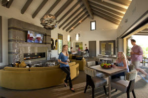 The Outpost clubhouse at Rancho Mission Viejo features a pool and spa, complete with a bar, outdoor cabanas and bocce courts, as well as a barbecue and hammock area.