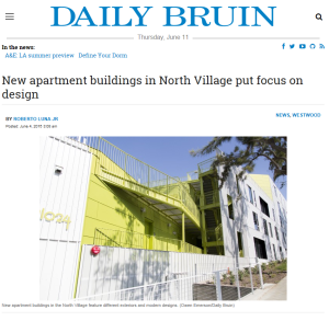 Studio Apartment Ucla strathmore (studio 11024) project highlighted in the ucla daily